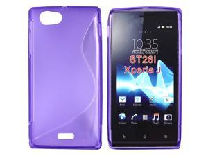 Kit Me Out USA TPU Gel Case for Sony Xperia J - Purple S Line Wave Pattern