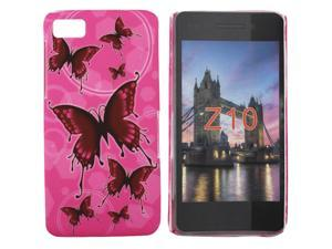Kit Me Out USA Hard Clip-on Case + Screen Protector with MicroFibre Cleaning Cloth for BlackBerry Z10 - Pink Butterflies
