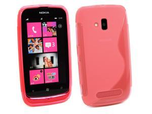 Kit Me Out USA TPU Gel Case for Nokia Lumia 610 - Hot Pink S Wave Pattern