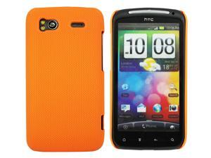 Kit Me Out USA Hard Clip-on Case + Screen Protector with MicroFibre Cleaning Cloth for HTC Sensation /Sensation XE - Orange Smooth Touch Textured