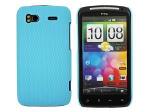 Kit Me Out USA Hard Clip-on Case + Screen Protector with MicroFibre Cleaning Cloth for HTC Sensation /Sensation XE - Light Blue Smooth Touch Textured