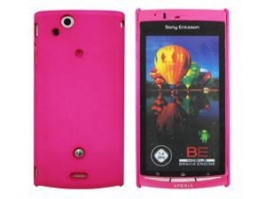 Kit Me Out USA Hard Clip-on Case + Screen Protector with MicroFibre Cleaning Cloth for Sony Xperia Arc / Arc S X12 - Hot Pink Smooth Touch Textured