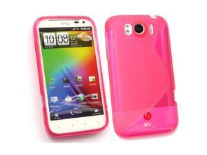 Kit Me Out USA TPU Gel Case + Screen Protector with MicroFibre Cleaning Cloth for HTC Sensation XL - Hot Pink S Wave Pattern