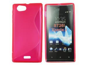 Kit Me Out USA TPU Gel Case + Screen Protector with MicroFibre Cleaning Cloth for Sony Xperia J - Hot Pink S Line Wave Pattern