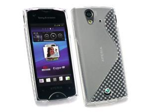 Kit Me Out USA TPU Gel Case + Screen Protector with MicroFibre Cleaning Cloth for Sony Ericsson Xperia Ray (ST-18i) - Clear S Wave Pattern