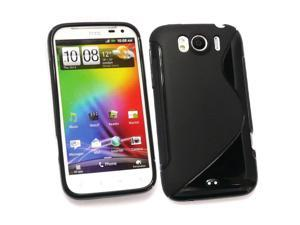 Kit Me Out USA TPU Gel Case for HTC Sensation XL - Black S Wave Pattern