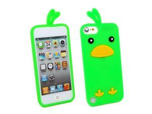 Kit Me Out USA Silicon Skin + Screen Protector with MicroFibre Cleaning Cloth for Apple iPod Touch 5 (5th Generation) - Green Cute Chicken Design