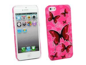 Kit Me Out USA Hard Clip-on Case + Screen Protector with MicroFibre Cleaning Cloth for Apple iPhone 5/ 5S - Pink Butterflies
