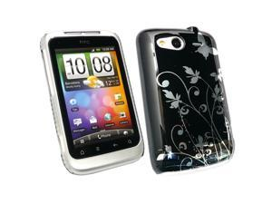 Kit Me Out USA Plastic Clip-on Case + Screen Protector with MicroFibre Cleaning Cloth for HTC Wildfire S (G13) - Black Flowers