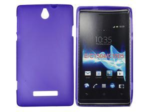 Kit Me Out USA TPU Gel Case + Screen Protector with MicroFibre Cleaning Cloth for Sony Xperia E - Purple Frosted Pattern