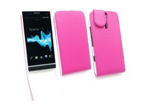 Kit Me Out USA PU Leather Flip Case + Screen Protector with MicroFibre Cleaning Cloth for Sony Xperia S LT26i - Hot Pink