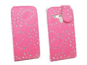 Kit Me Out USA PU Leather Flip Case for Samsung Galaxy S3 Mini i8190 - Hot Pink Sparkling Glitter Design