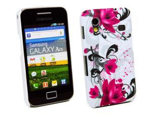Kit Me Out USA Plastic Clip-on Case for Samsung Galaxy Ace S5830 - Purple Bloom