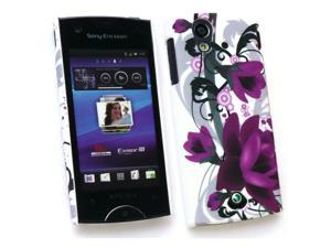 Kit Me Out USA Plastic Clip-on Case + Screen Protector with MicroFibre Cleaning Cloth for Sony Ericsson Xperia Ray (ST-18i) - Purple Bloom