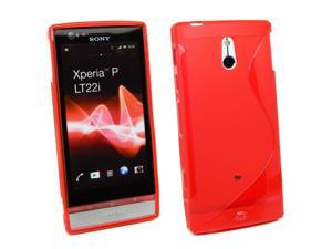 Kit Me Out USA TPU Gel Case + Screen Protector with MicroFibre Cleaning Cloth for Sony Xperia P - Red S Line Wave Pattern
