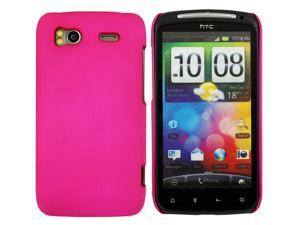 Kit Me Out USA Hard Clip-on Case + Screen Protector with MicroFibre Cleaning Cloth for HTC Sensation /Sensation XE - Hot Pink Smooth Touch Textured