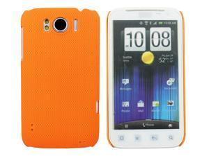Kit Me Out USA Hard Clip-on Case + Screen Protector with MicroFibre Cleaning Cloth for HTC Sensation /Sensation XL - Orange Smooth Touch Textured
