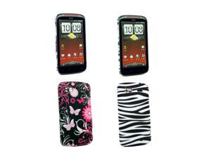 Kit Me Out USA Plastic Clip-on Case Pack for HTC Sensation / Sensation XE - Pink Garden, Black/White Zebra