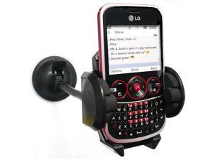 """Kit Me Out USA 7"""" Windscreen Car Mount Suction Holder for LG GW300 - Black"""