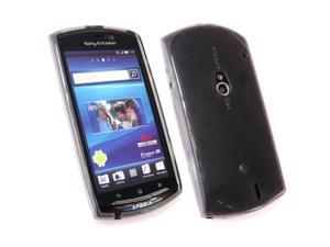 Kit Me Out USA TPU Gel Case + Screen Protector with MicroFibre Cleaning Cloth for Sony Ericsson Xperia Neo - Black Frosted Pattern