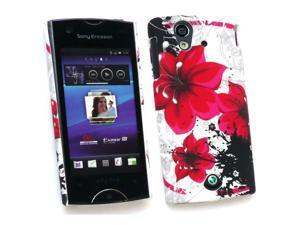 Kit Me Out USA Plastic Clip-on Case for Sony Ericsson Xperia Ray (ST-18i) - Oriental Flowers