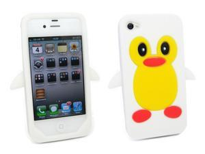 Kit Me Out USA Silicon Skin + Screen Protector with MicroFibre Cleaning Cloth for Apple iPhone 4 / 4S - White Cute Penguin Design