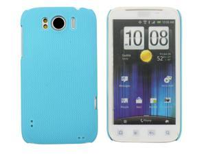 Kit Me Out USA Hard Clip-on Case + Screen Protector with MicroFibre Cleaning Cloth for HTC Sensation /Sensation XL - Light Blue Smooth Touch Textured