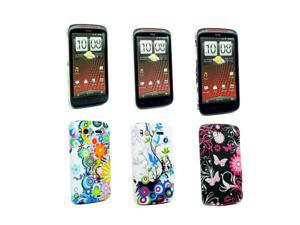 Kit Me Out USA Plastic Clip-on Case Pack for HTC Sensation / Sensation XE - Country Garden, Pink Garden, Pink Garden , Circles With Flowers
