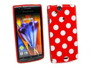 Kit Me Out USA IMD TPU Gel Case + Screen Protector with MicroFibre Cleaning Cloth for Sony Ericsson Xperia Arc / Arc S X12 - Red, White Polka Dots
