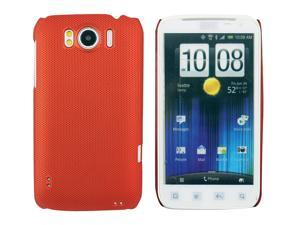 Kit Me Out USA Hard Clip-on Case + Screen Protector with MicroFibre Cleaning Cloth for HTC Sensation /Sensation XL - Metallic Red Smooth Touch Textured