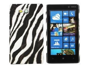 Kit Me Out USA Hard Clip-on Case + Screen Protector with MicroFibre Cleaning Cloth for Nokia Lumia 820 - Black / White Vertical Zebra