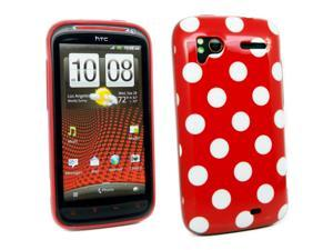 Kit Me Out USA IMD TPU Gel Case + Screen Protector with MicroFibre Cleaning Cloth for HTC Sensation / Sensation XE - Red, White Polka Dots