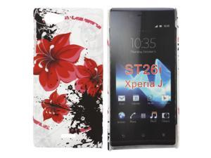 Kit Me Out USA Hard Clip-on Case + Screen Protector with MicroFibre Cleaning Cloth for Sony Xperia J - Oriental Flowers