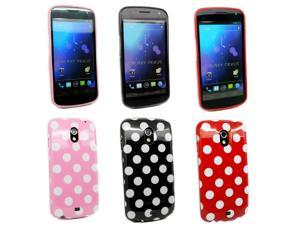 Kit Me Out USA TPU Gel Case Pack for Samsung Galaxy Nexus i9250 - Black/White, Red, Pink Polka Dots