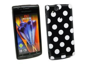 Kit Me Out USA IMD TPU Gel Case + Screen Protector with MicroFibre Cleaning Cloth for Sony Ericsson Xperia Arc / Arc S X12 - Black, White Polka Dots