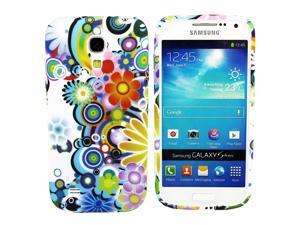 Kit Me Out USA IMD TPU Gel Case for Samsung Galaxy S4 Mini i9190 (NOT FOR S4) - Multicoloured Circles With Flowers