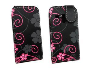 Kit Me Out USA PU Leather Flip Case for Samsung Galaxy S3 Mini i8190 - Black / Pink Floral Flowers