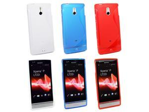 Kit Me Out USA TPU Gel Case Pack for Sony Xperia P - White & Blue & Red S Line Wave Pattern