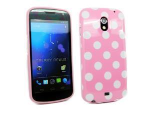 Kit Me Out USA IMD TPU Gel Case for Samsung Galaxy Nexus i9250 - Pink, White Polka Dots