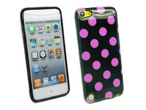 Kit Me Out USA TPU Gel Case + Screen Protector with MicroFibre Cleaning Cloth for Apple iPod Touch 5 (5th Generation) - Black, Purple Polka Dots