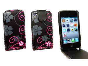 Kit Me Out USA PU Leather Flip Case + Screen Protector with MicroFibre Cleaning Cloth for Apple iPod Touch 4 (4th Generation) - Black / Pink Floral Flowers