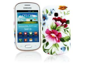 Kit Me Out USA Hard Clip-on Case + Screen Protector with MicroFibre Cleaning Cloth for Samsung Galaxy Fame S6810 - Multicoloured / White Vintage Flowers