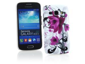 Kit Me Out USA Hard Clip-on Case + Screen Protector with MicroFibre Cleaning Cloth for Samsung Galaxy Ace 3 S7272 - White / Black / Purple Bloom