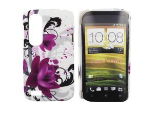 Kit Me Out USA Hard Clip-on Case + Screen Protector with MicroFibre Cleaning Cloth for HTC Desire X - White / Black / Purple Bloom