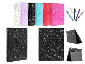 Kit Me Out USA PU Leather Book Case + 5 Resistive / Capacitive Stylus Pens for Asus Google Nexus 7 ( 7 Inch 7.0 ) Tablet - Black Sparking Glitter Diamond Diamante Gem Design