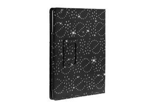 Kit Me Out USA PU Leather Book Case + Blue Resistive / Capacitive Stylus Pen for Asus Google Nexus 7 ( 7 Inch 7.0 ) Tablet - Black Sparking Glitter Diamond Diamante Gem Design