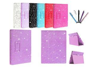 Kit Me Out USA PU Leather Book Case + 5 Resistive / Capacitive Stylus Pens for Asus Google Nexus 7 ( 7 Inch 7.0 ) Tablet - Purple Sparking Glitter Diamond Diamante Gem Design