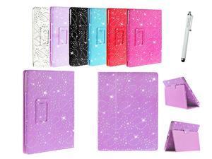 Kit Me Out USA PU Leather Book Case + White Resistive / Capacitive Stylus Pen for Asus Google Nexus 7 ( 7 Inch 7.0 ) Tablet - Purple Sparking Glitter Diamond Diamante Gem Design