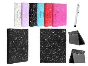 Kit Me Out USA PU Leather Book Case + White Resistive / Capacitive Stylus Pen for Asus Google Nexus 7 ( 7 Inch 7.0 ) Tablet - Black Sparking Glitter Diamond Diamante Gem Design