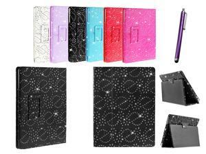Kit Me Out USA PU Leather Book Case + Purple Resistive / Capacitive Stylus Pen for Asus Google Nexus 7 ( 7 Inch 7.0 ) Tablet - Black Sparking Glitter Diamond Diamante Gem Design